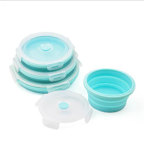 Silicone round folding travel bowl
